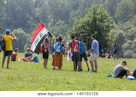 CRACOW POLAND - JULY 26 2016: World Youth Day 2016 - The gesture of the solidarity with pilgrims from Iraq in the Sanctuary of Divine Mercy in Lagiewniki. Cracow Poland