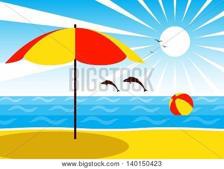 vector umbrella on the beach and beach ball floating on the sea