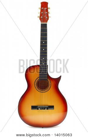 Classic acoustic guitar isolated on white background