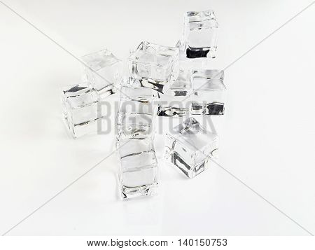 Close up of ice cubes isolated on white background