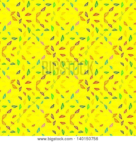 Doodles seashells background seamless pattern on yellow background