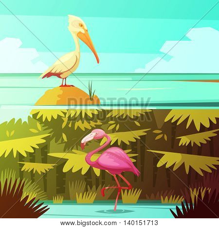 Tropical rainforest fauna 2 retro cartoon banners set with pink flamingo and pelican bird isolated vector illustration