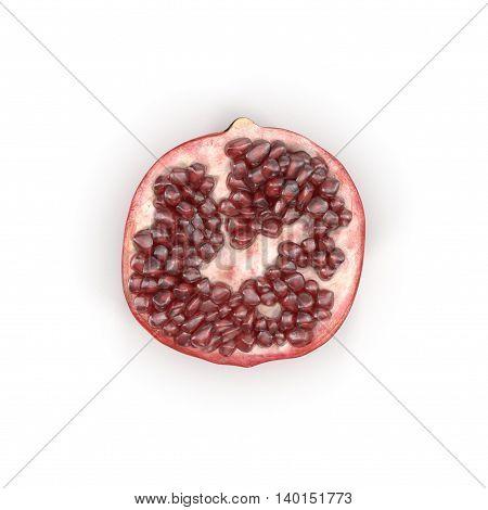 Half of pomegranate isolated on white background 3D Illustration