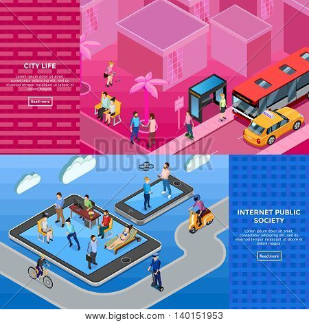 People isometric banners with members of internet public society and city life illustration on textural backgrounds isolated vector illustration