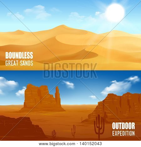 Horizontal beautiful desert landscape flat banners isolated vector illustration