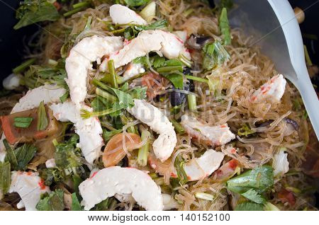 Fried Noodle With Vegetables, Pork And Chicken
