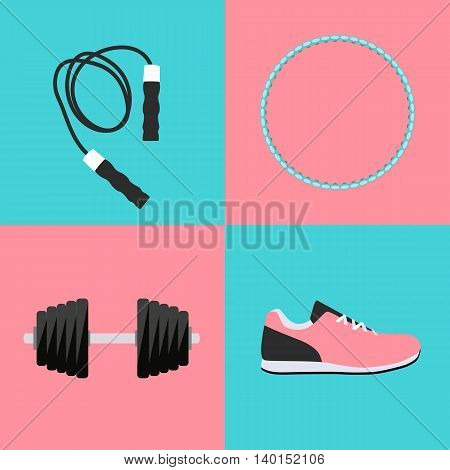 Sport Hula Hoop, Trainers, Dumbbells and Skipping Rope Icon Flat Set Vector Illustration EPS10