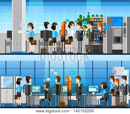 Cartoon office people indoor composition with team of positive young officers working at computers and communicating with partners vector illustration