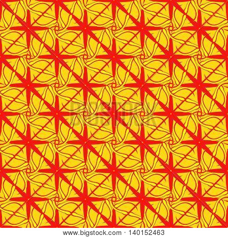 Abstract geometric seamless pattern in yellow, orange and red colors.