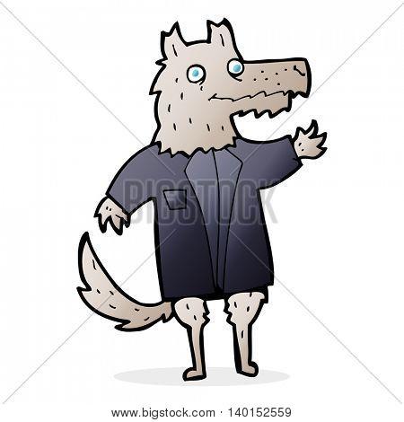 cartoon wolf businessman