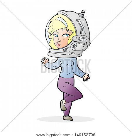 cartoon woman wearing space helmet