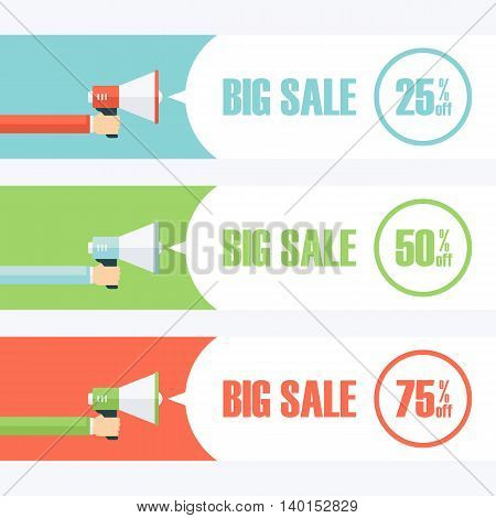 Set of color banners with male hand holding megaphone and Big Sale speech bubble. Loudspeaker. Big Sale banners for business, promotion and advertising. Vector illustration.