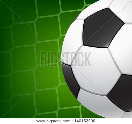 Soccer background. Soccer ball on the background grid goalie gate