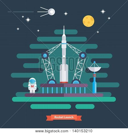 Rocket launch. Space landscape with rocket, spaceman, satellite, moon and stars. Flat design vector illustration.