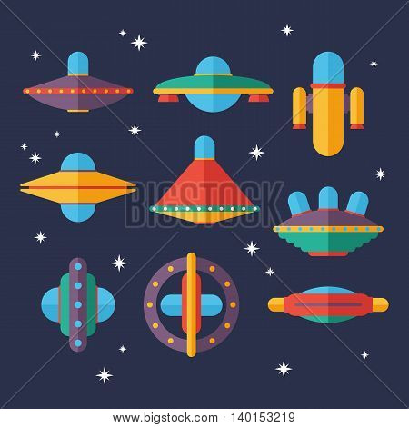 Flat Ufo spaceships set. Unidentified flying objects. Space fantastic vector illustration.