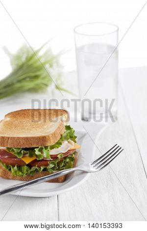 ham sandwich with toasted bread in plate with spoon