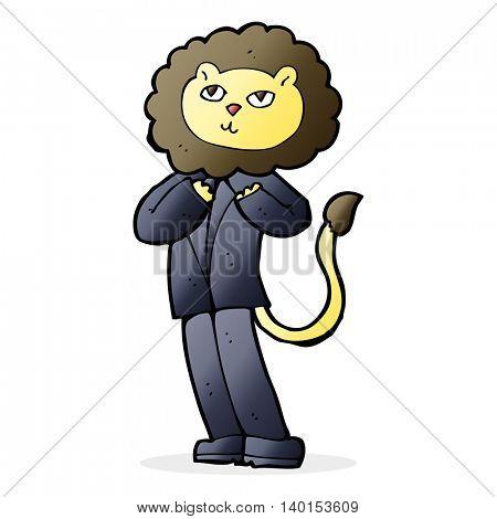 cartoon lion businessman