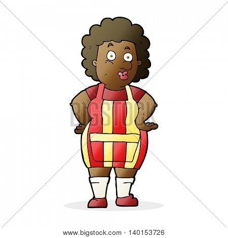 cartoon woman in kitchen apron