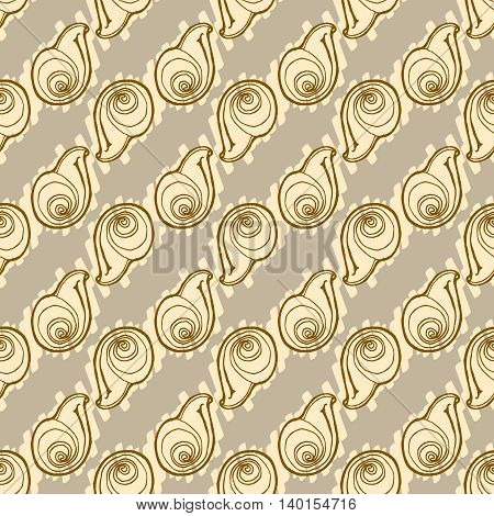 Doodles seashells background seamless pattern on grey background.