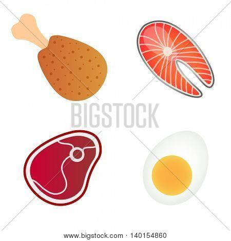 Protein Foods Set. Vector illustration of sliced beef steak, egg, salmon fish, chicken leg isolated on white