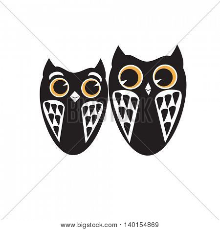 Two black owls vector logo template. Wisdom logotype. Owls vector illustration. Can be used for print, web, cards, scrapbooking, wall decal