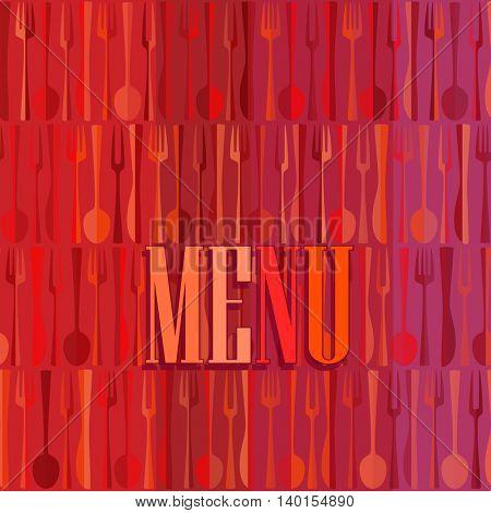 Fashion modern restaurant or cafe menu card design, bright red mockup