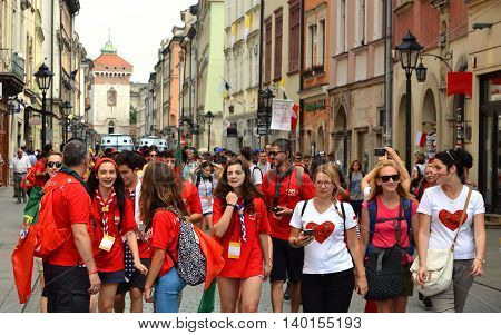 KRAKOW POLAND - JUL 27 2016: World youth day 2016.International Catholic youth Convention. Young people on Main Square in Krakow.