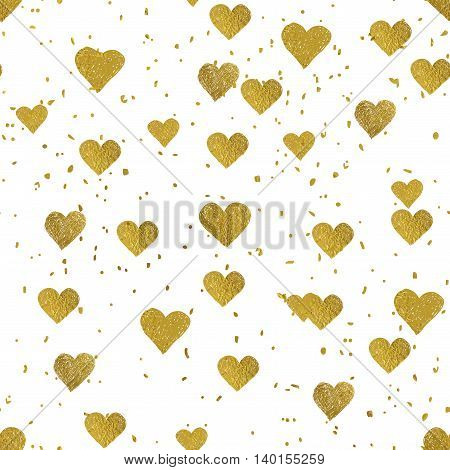 Golden foil glittering hearts seamless pattern. Good for web, print and wrapping paper. Perfect for Valentines day design. Vector illustration