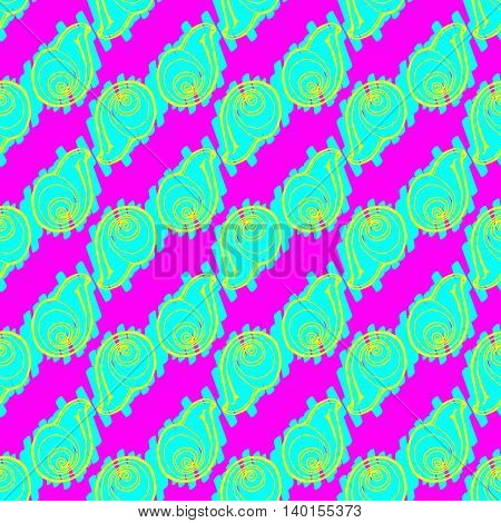 Doodles seashells background seamless pattern on pink background.