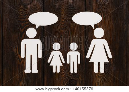 Paper Family, Parents Are Talking. Abstract Conceptual Image