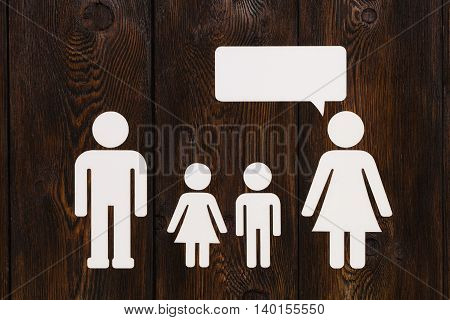 Paper Family, Mother Is Talking. Abstract Conceptual Image