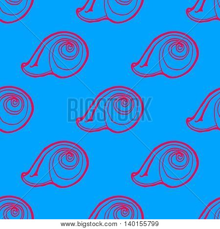 Doodles seashells background seamless pattern on blue background.