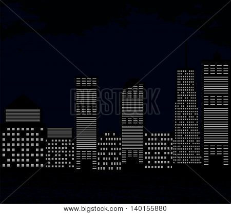 Silhouette of Big City on Background of Dark Sky. Vector Illustration. EPS10