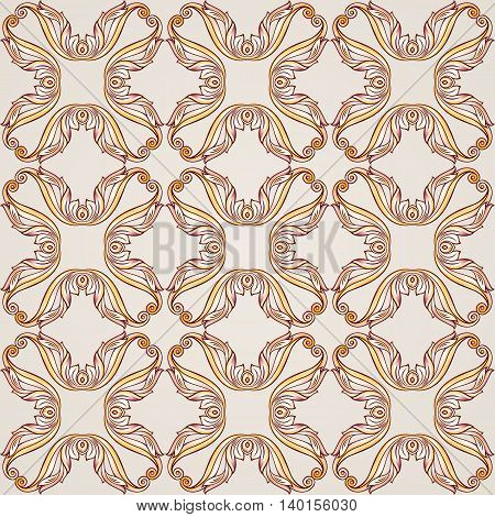 Seamless patten made of floral cross elements. Illustration in pastel rose pink and yellow shades