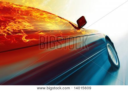 Sport car with burning roof in motion on icy road