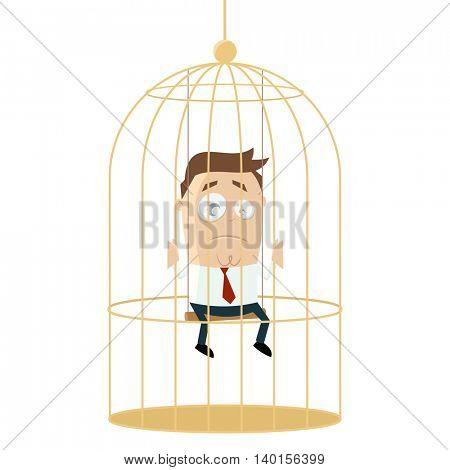 sad businessman in birdcage