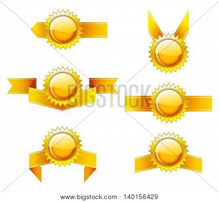 Set of labels with gold ribbons. Vector illustration