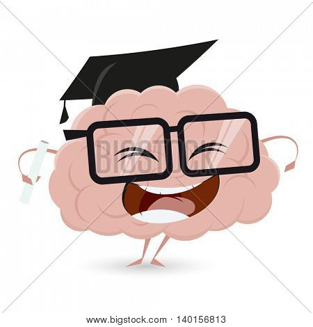 clipart of a funny brain with degree