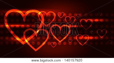 Valentines Day background. Glowing hearts on a dark background