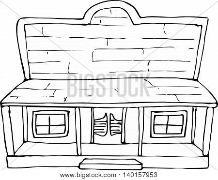 Vector cute westren house doodle.Vector line illustration.Sketch for postcard, print or coloring adult book.Boho zen art style.