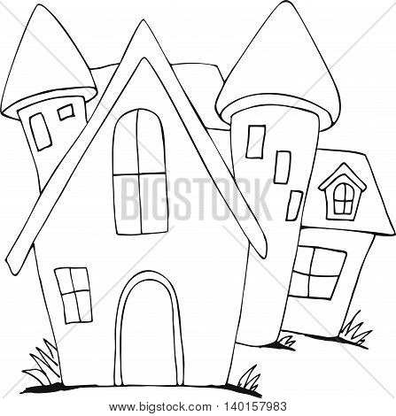 Vector cute fairy tale house doodle.Vector line illustration.Sketch for postcard, print or coloring adult book.Boho zen art style.
