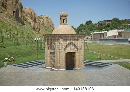 Samarkand Uzbekistan - July 03 2014: Holy spring in the Park at the tomb of prophet Daniel in Samarkand.