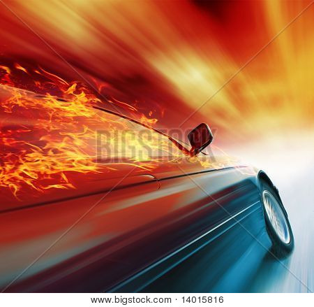 Burning sport car in motion with red blurry clouds
