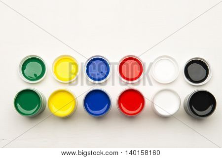 Color tempera water based paints on a white background