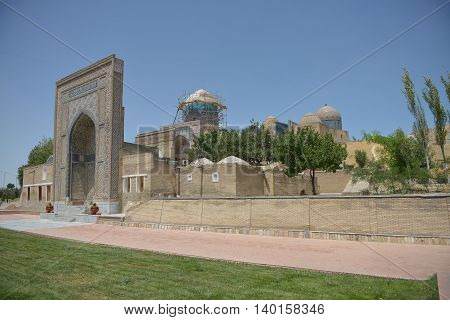 Samarkand Uzbekistan - July 03 2014: Shohizinda - a monument of medieval architecture in Samarkand ensemble of mausoleums of the Samarkand nobility. The complex consists of eleven mausoleums built in the XI-XV centuries. Complex Shohizinda included in the