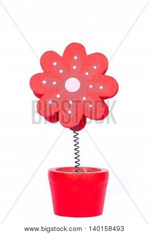 red Artificial flower made by wood isolated on white background