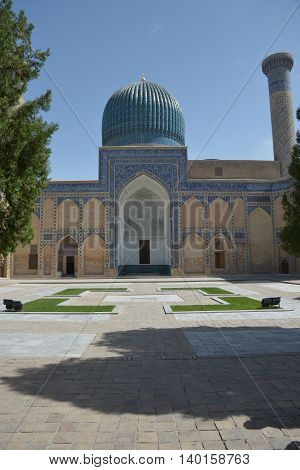 Samarkand Uzbekistan - July 03 2014: Mausoleum of Amir Timur (1336-1405). Political figure of the second half of the XIV century. He founded a huge Asian Empire and the Timurid dynasty. The state capital was the city of Samarkand.
