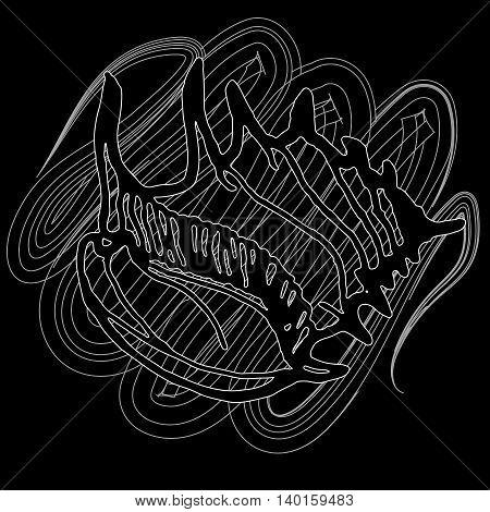 Doodles seashells icon on a black background.