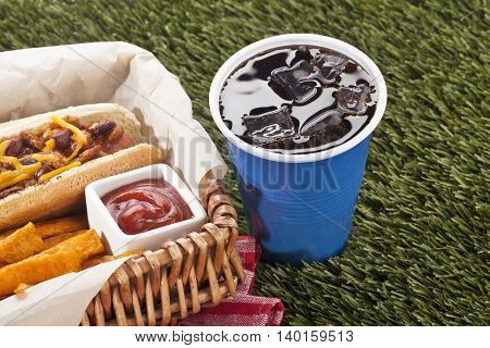 basket of snacks and cup of cola