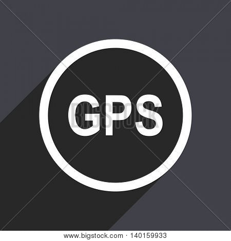 Flat design gray web gps vector icon
